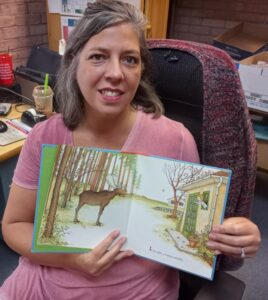 Sandy, Booneville Librarian and the Moose!